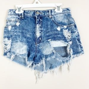 Garage Acid Light Wash Distressed Shorts Size 1